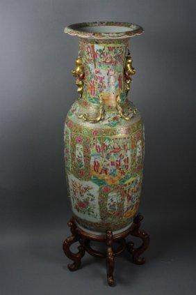 """Huge Antique Chinese Rose Medallion Vase H: 46"""""""