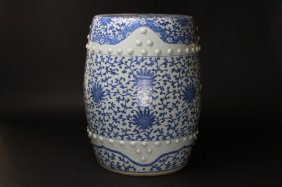 Antique Chinese B/w Garden Stool With Lotus