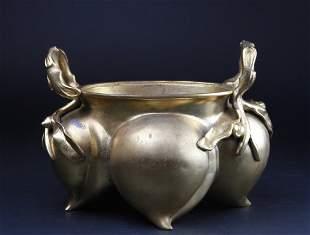 Chinese Gilt Bronze Censor Peach Shape