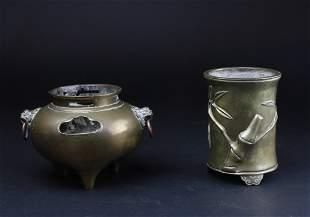 Two Bronze Items, 2pcs