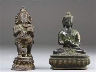 Two Chinese Bronze Buddha, 2pcs