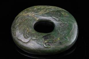 Chinese Spinach Jade Disk