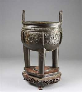 Chinese Bronze Incense Burner With Stand