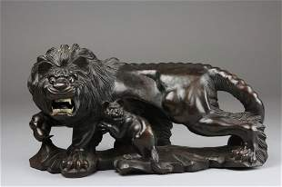 Hard Wood Carving Of Lion