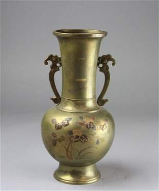 Japanese Mixed Floral Vase With Floral Designed
