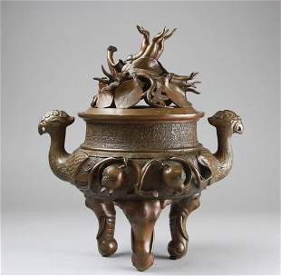 Chinese Bronze Incense Burner With Lid