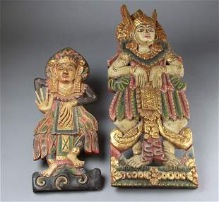 South East Asian Wood Carving With Polychrome 2pcs