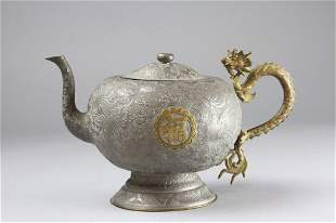 Chinese Pewter Teapot With Dragon Handle