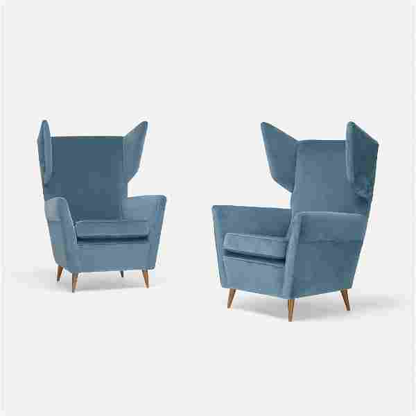 Gio Ponti, lounge chairs, pair