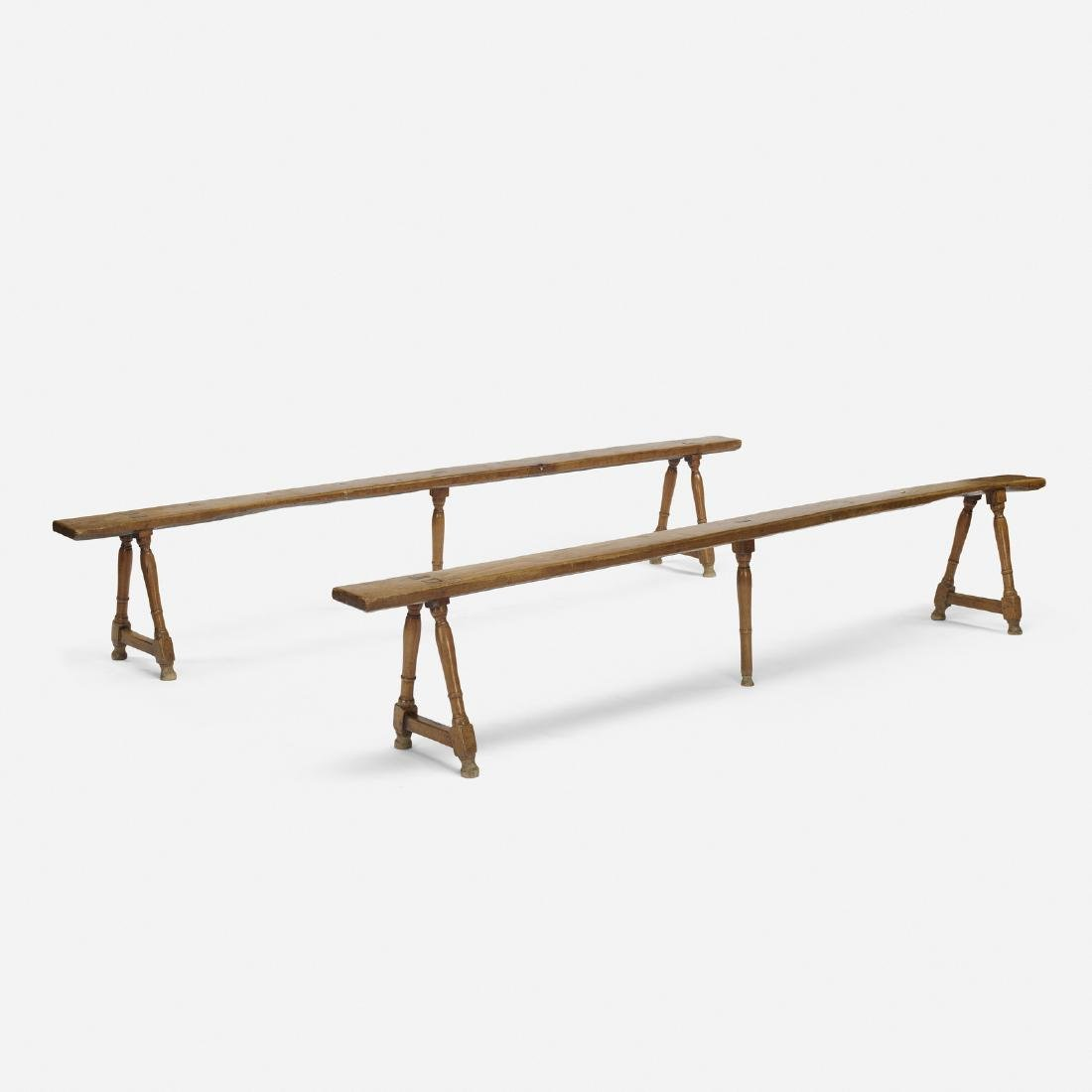 French, benches, pair