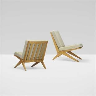 Pierre Jeanneret, Scissor lounge chairs, pair