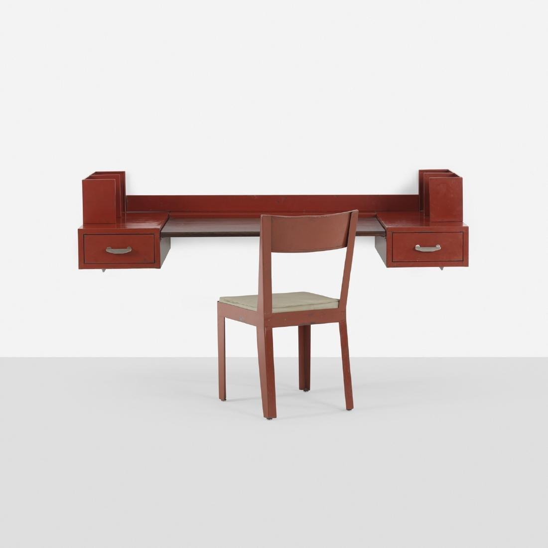 Jules Leleu & Jean Prouve, wall-mounted desk & chair