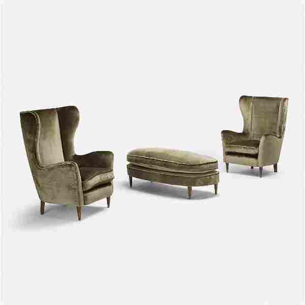 Gio Ponti, lounge chairs, pair and ottoman