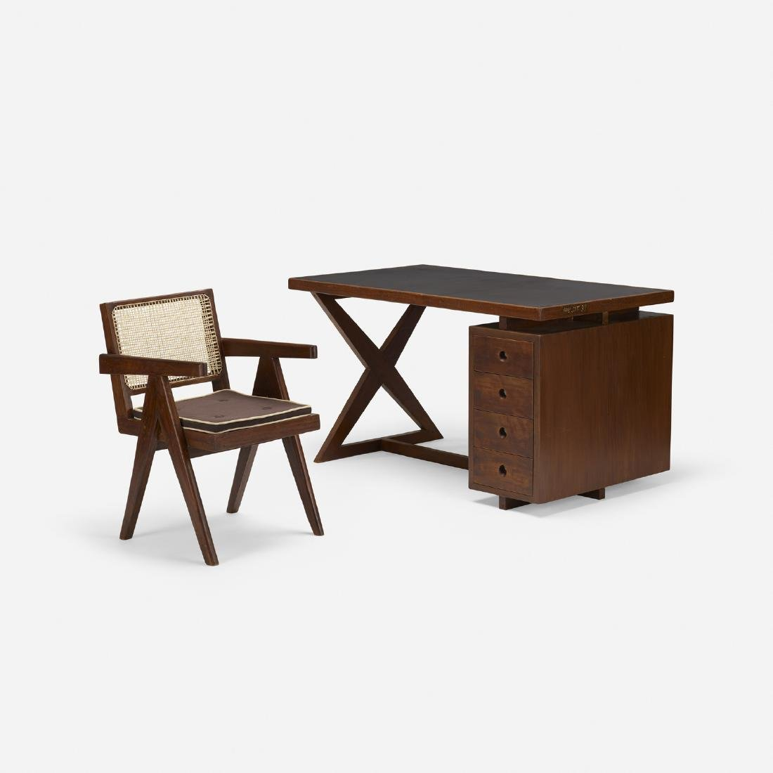 Pierre Jeanneret, desk and chair from Chandigarh - 2