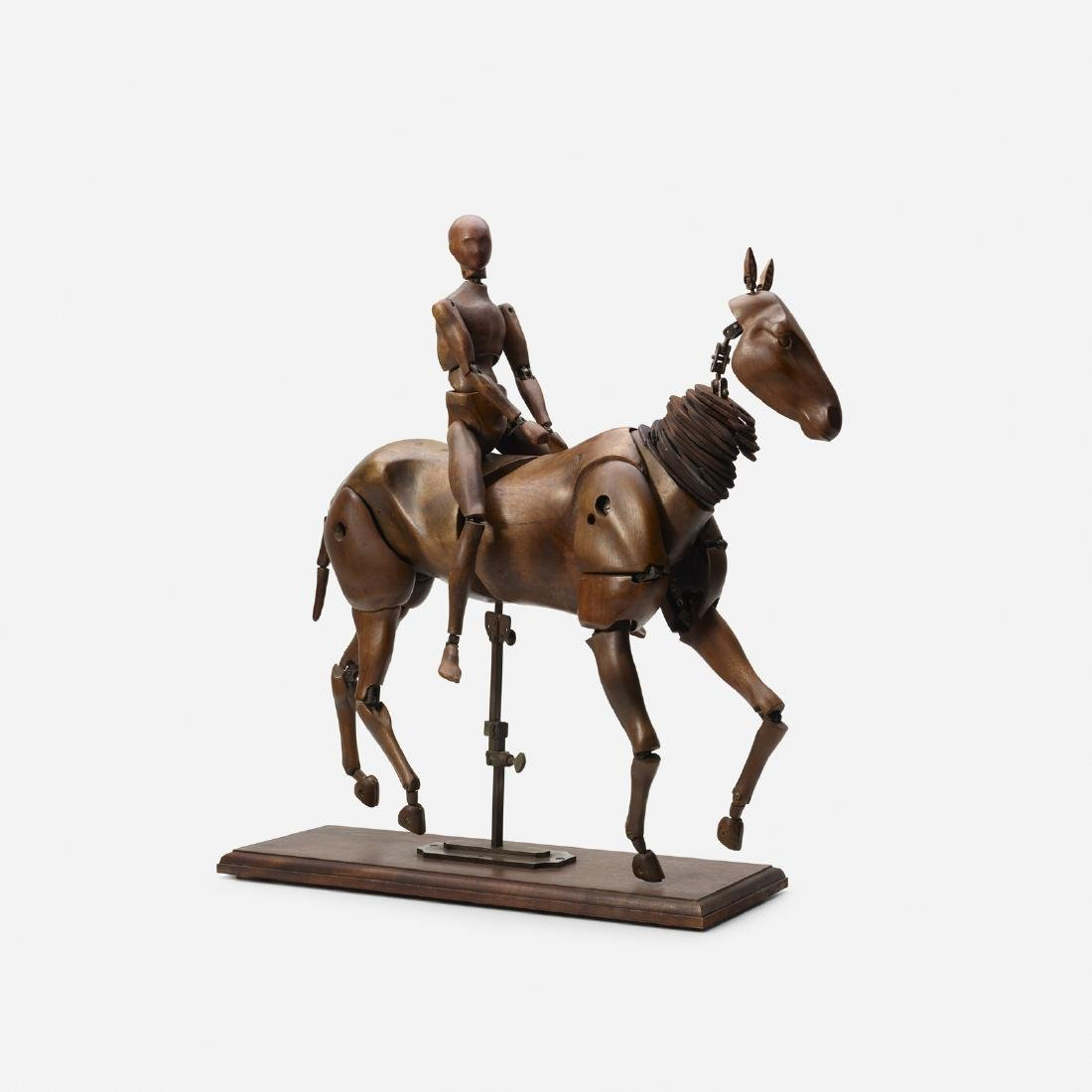 French, rare articulated horse, rider artist's models