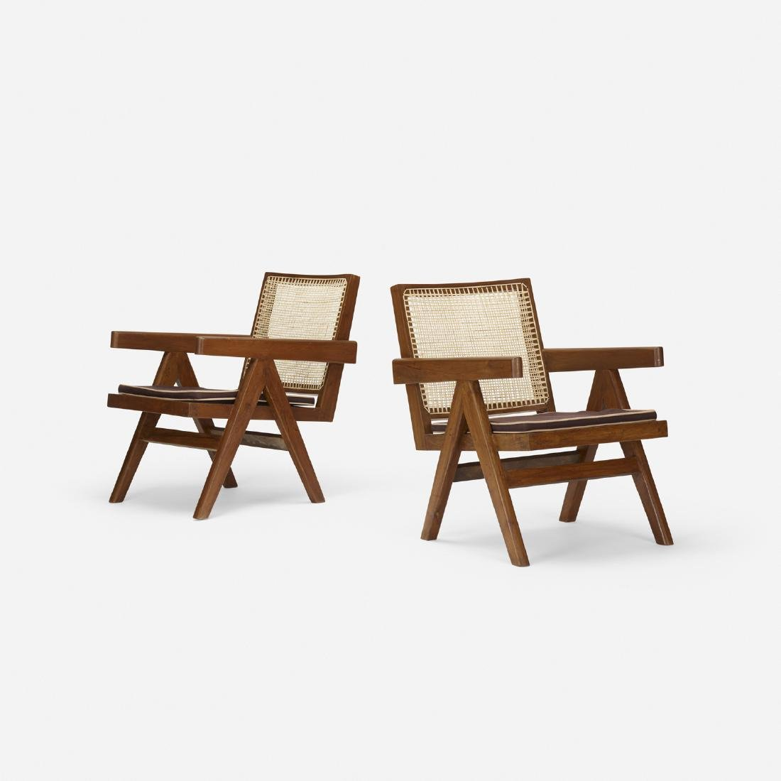 Pierre Jeanneret, Easy armchairs from Chandigarh, pair