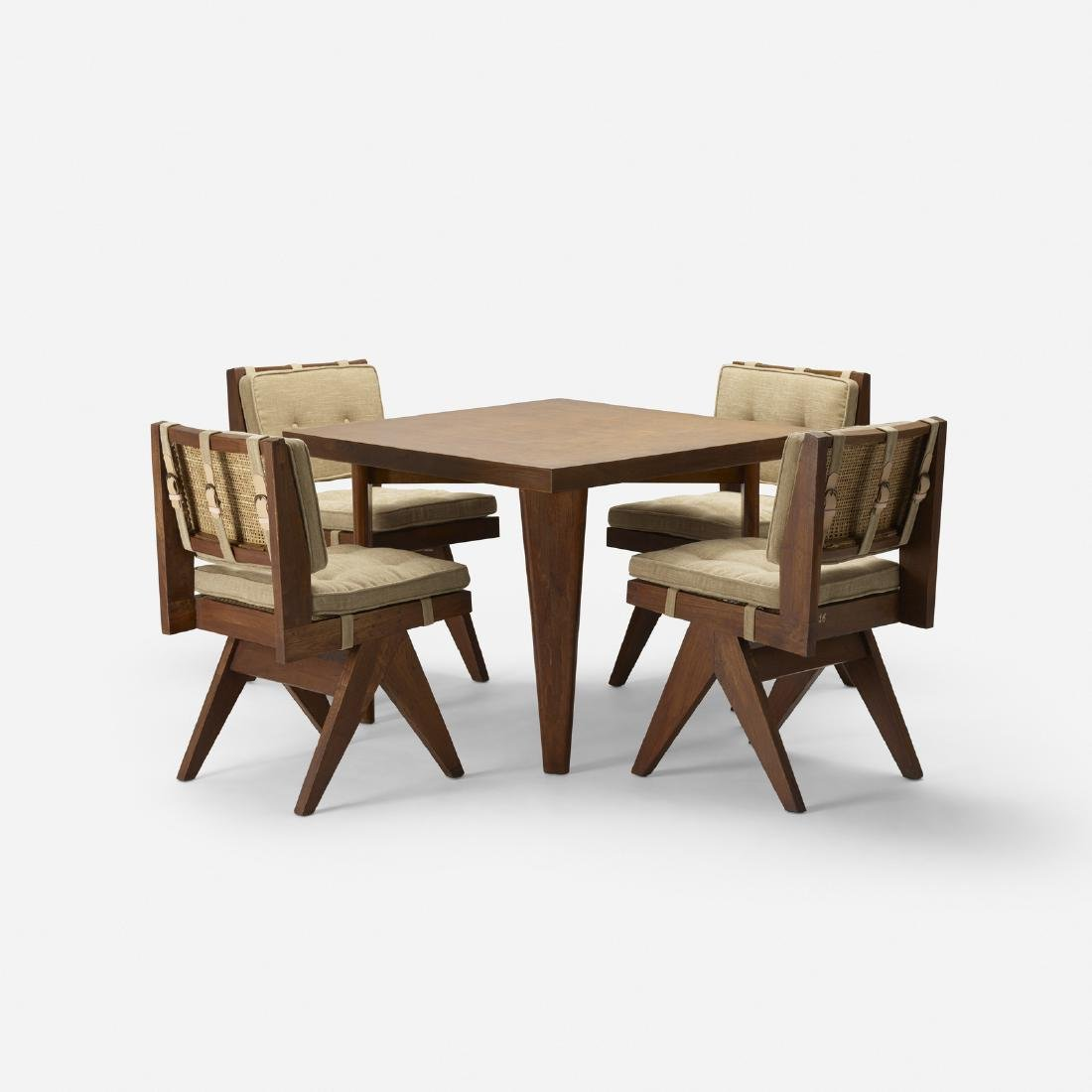 Pierre Jeanneret, table, four chairs, Chandigarh