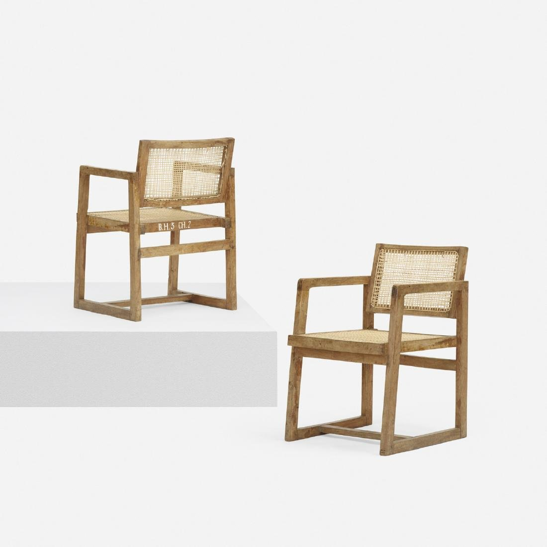 Pierre Jeanneret, armchairs from Chandigarh, pair
