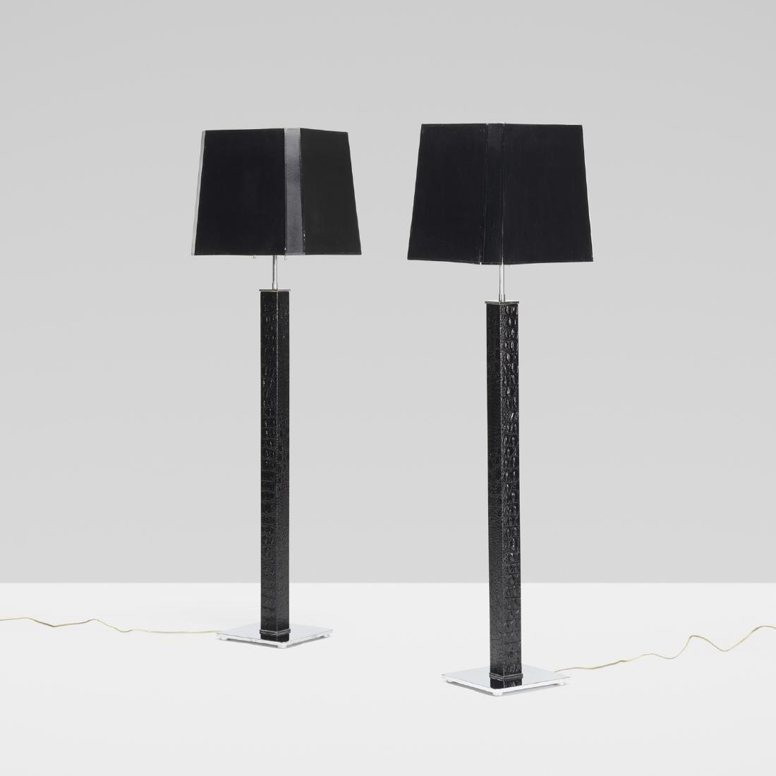 Karl Springer, Square Column floor lamps, pair