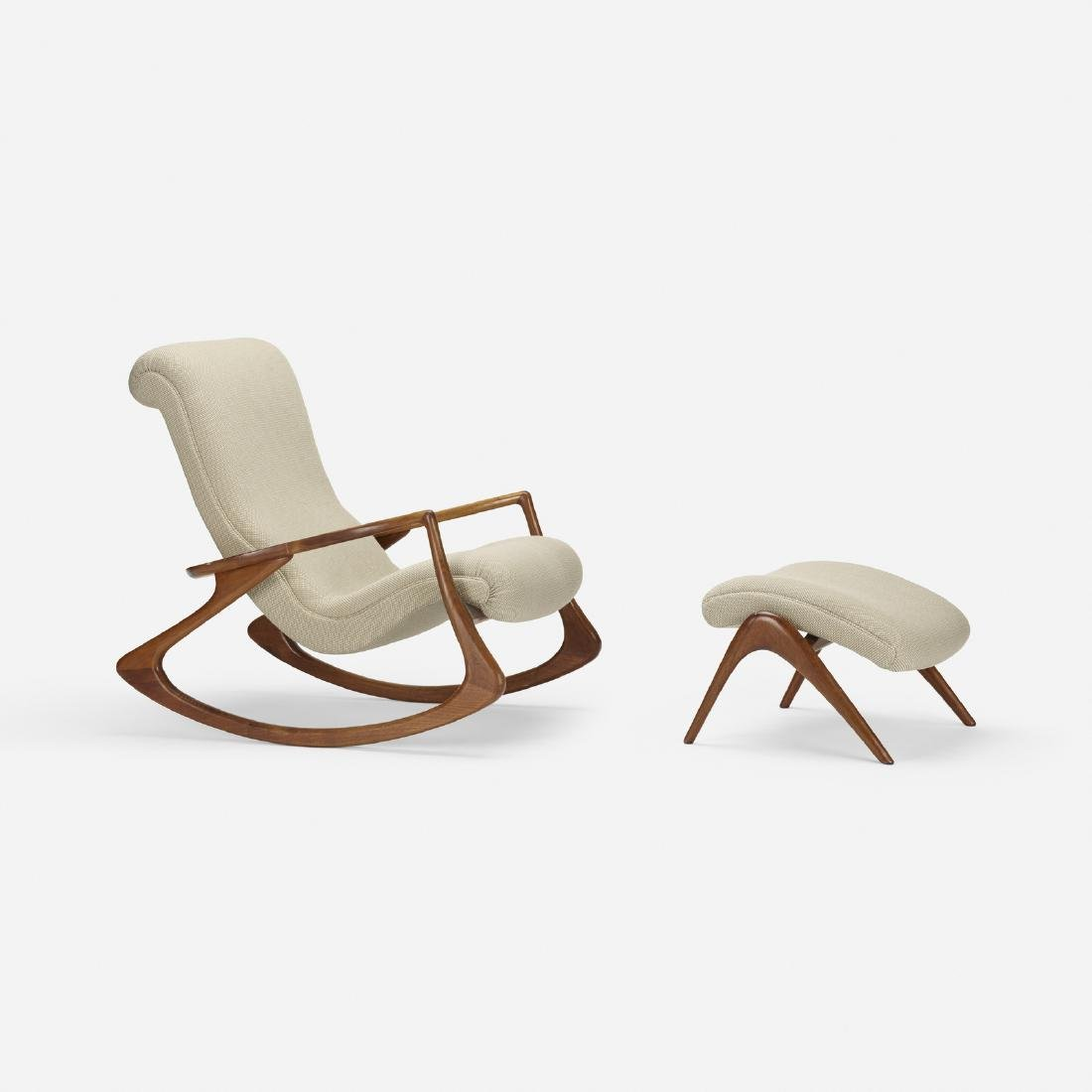 Vladimir Kagan, Sculpted rocking chair and ottoman