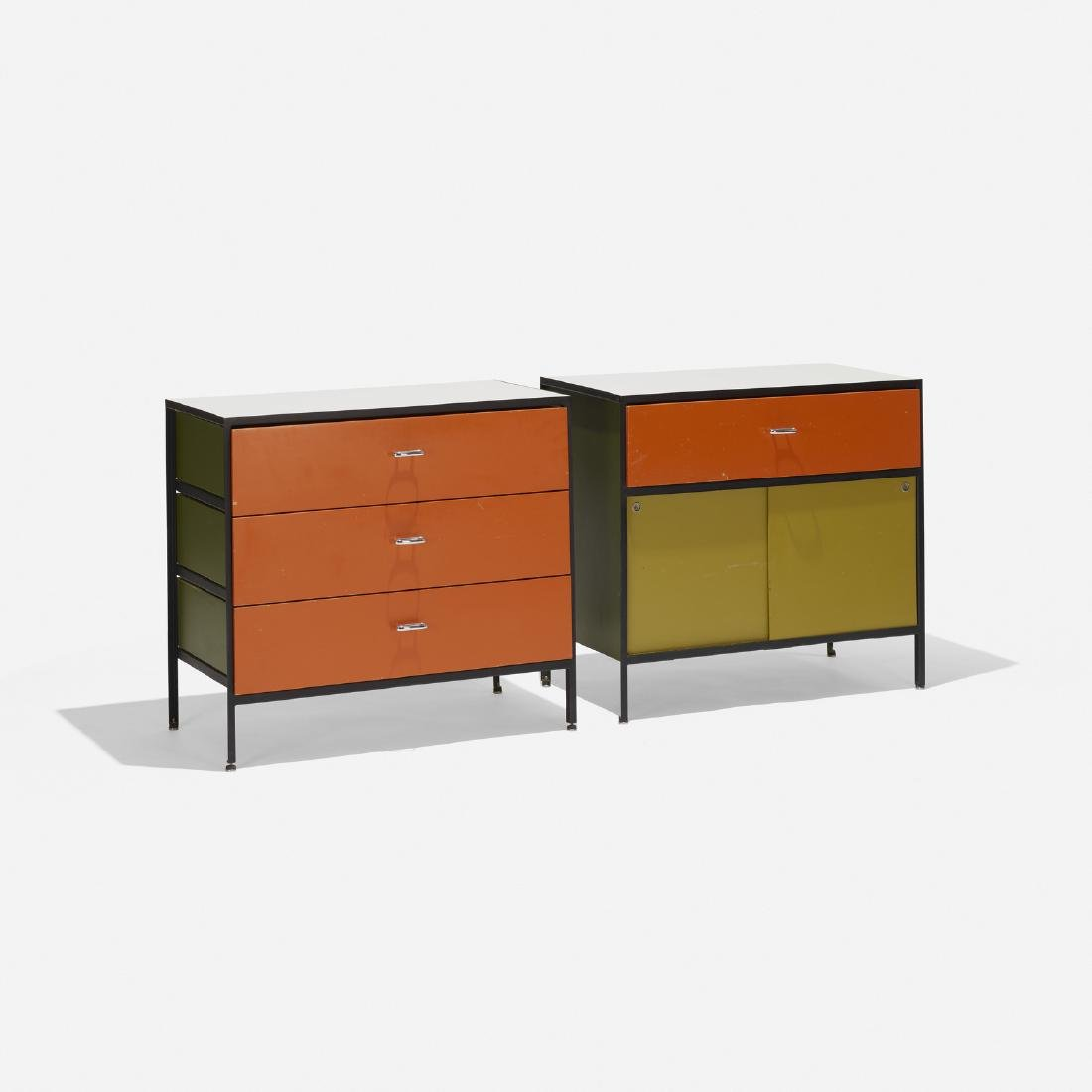 George Nelson & Associates, Steelframe cabinets, pair