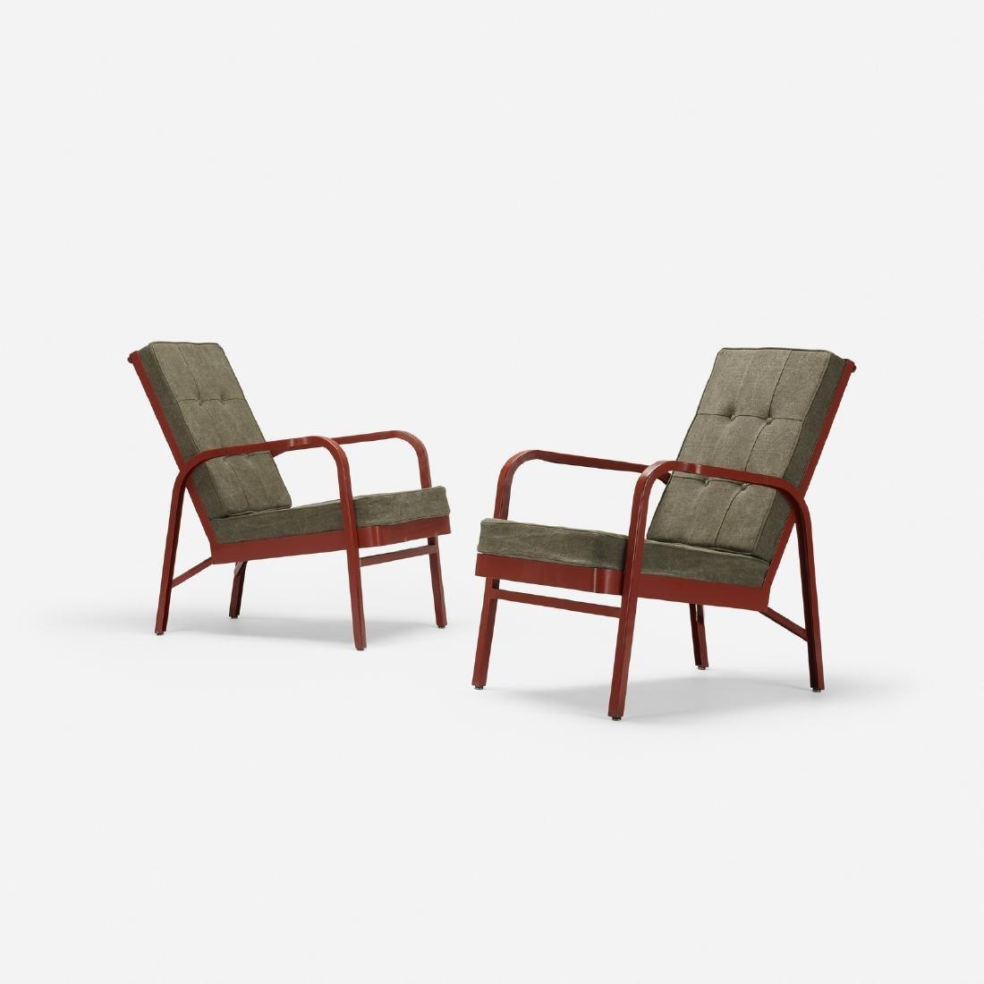 Prouve and Leleu, pair of armchairs, Martel de Janville