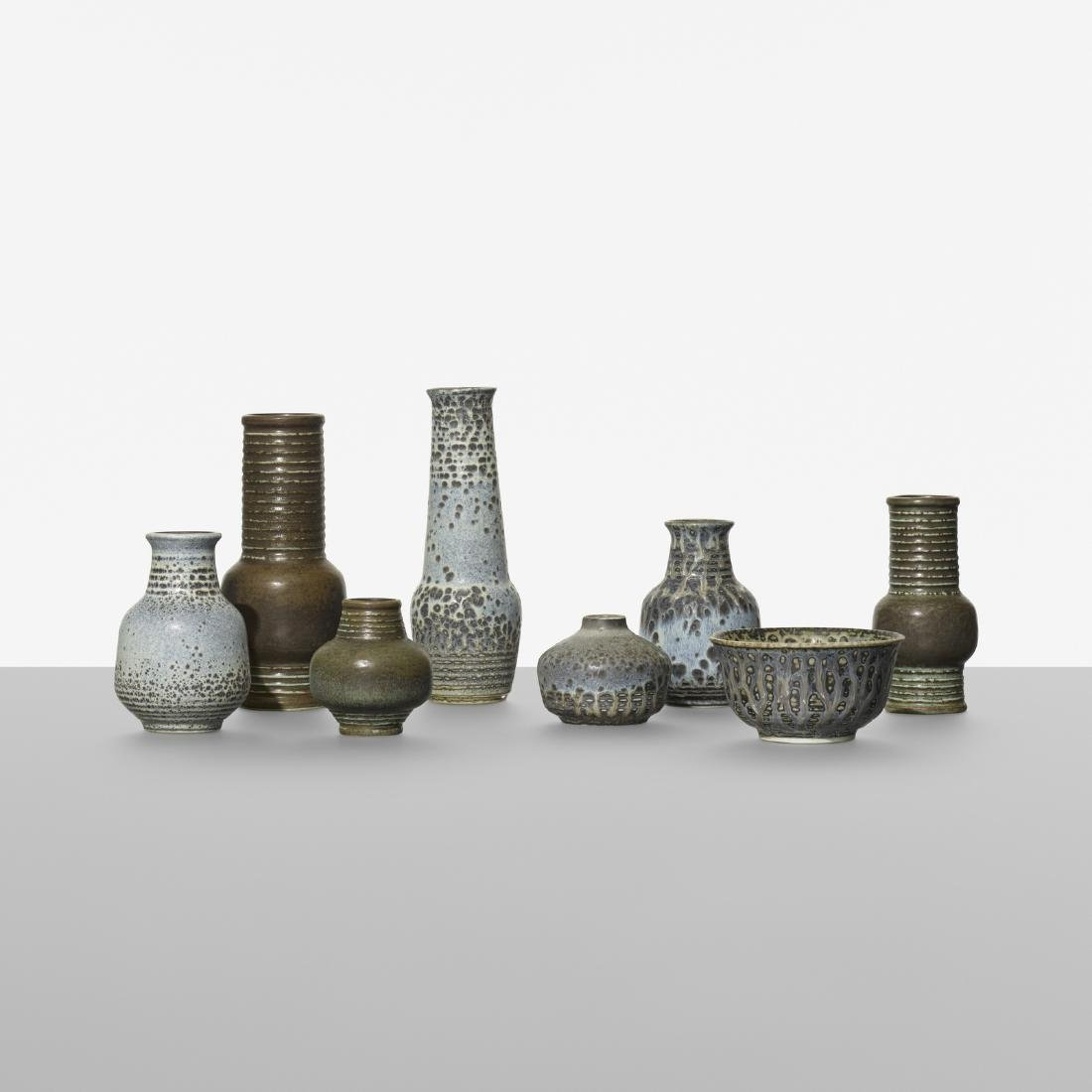 Gunnar Nylund, collection of eight vases