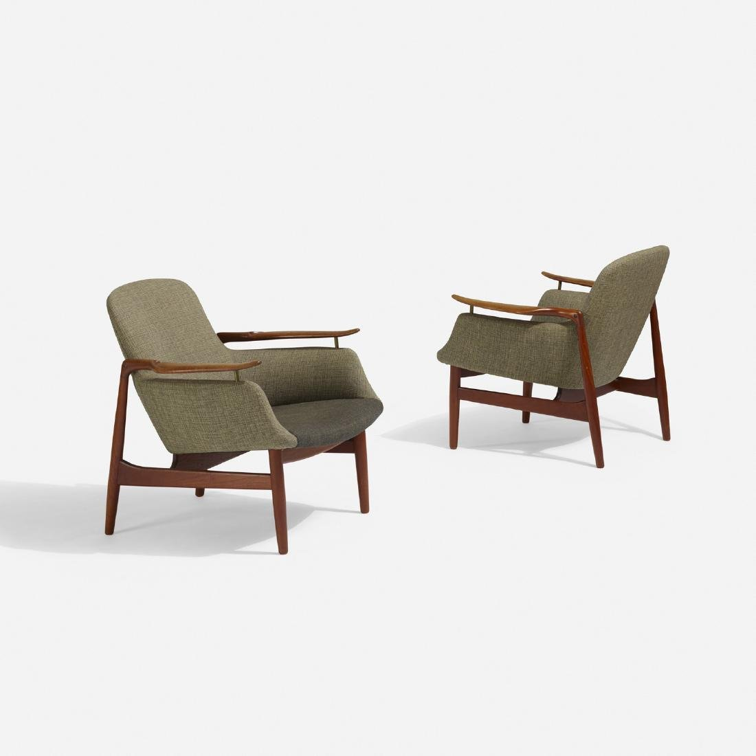 Finn Juhl, lounge chairs model NV-53, pair