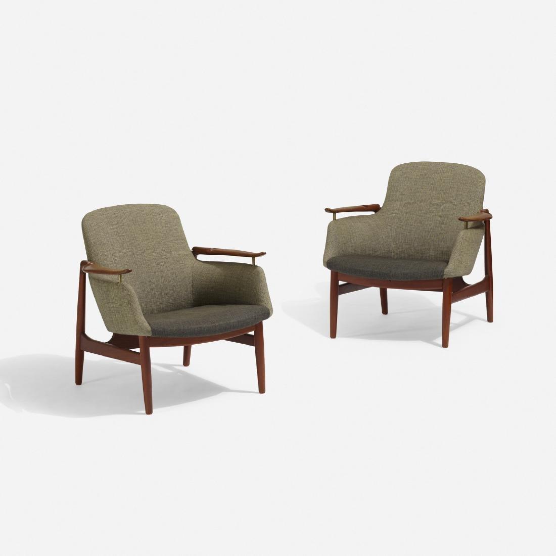 Finn Juhl, lounge chairs model NV-53, pair - 2