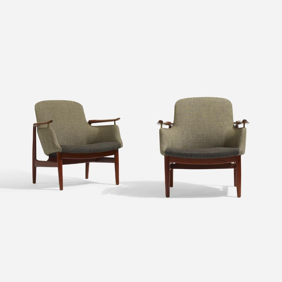 Finn Juhl, lounge chairs model NV-53, pair - 3