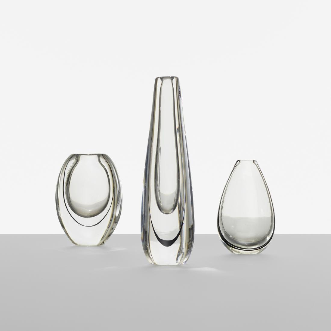 Vicke Lindstrand, collection of three vases