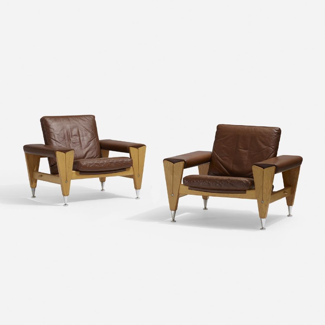 Hans J. Wegner, lounge chairs, pair