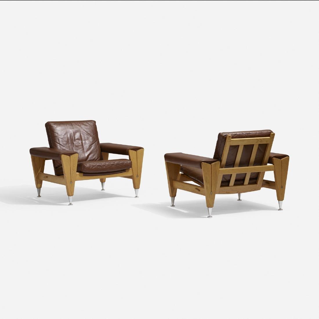 Hans J. Wegner, lounge chairs, pair - 2