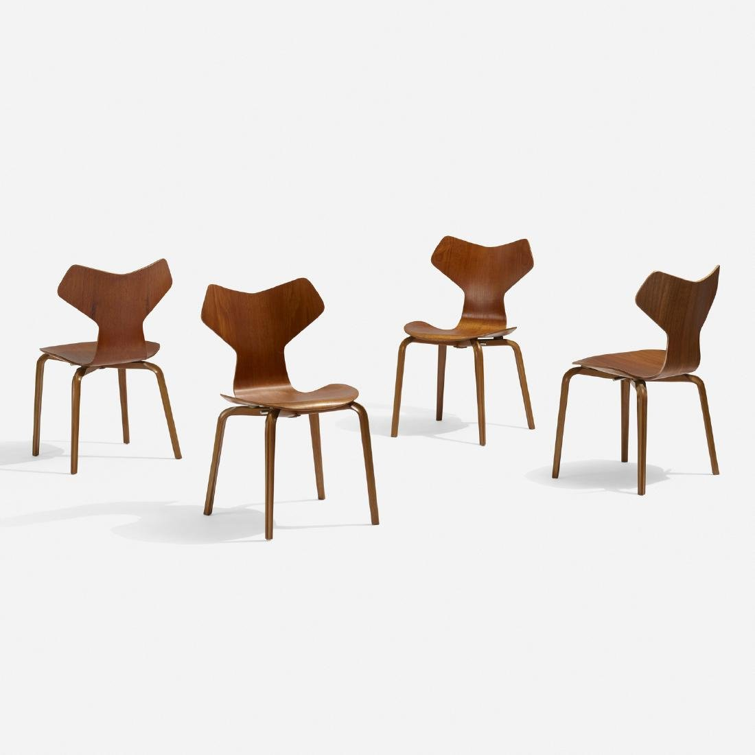 Arne Jacobsen, Grand Prix dining chairs, set of four
