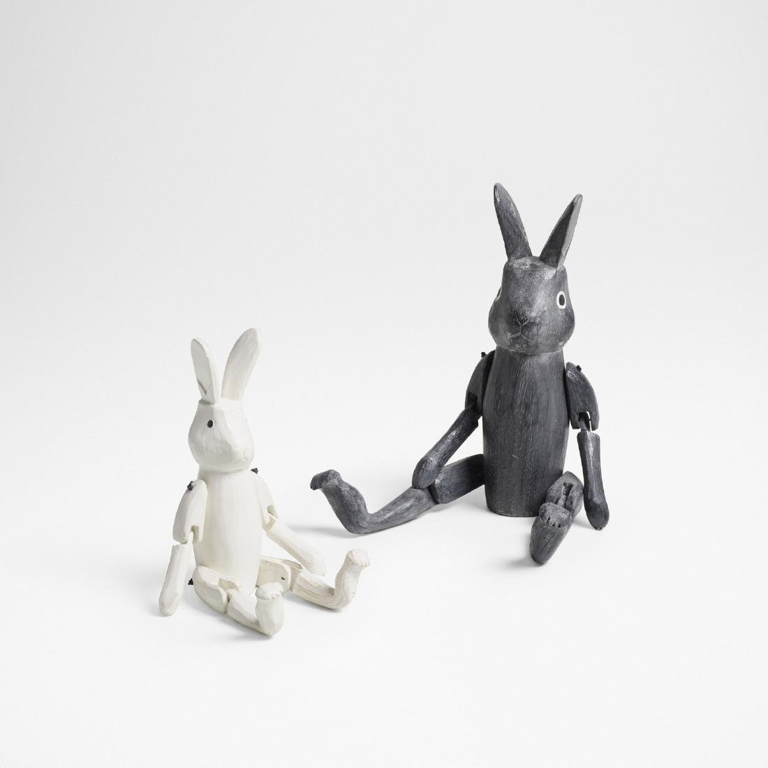 Japanese, carved rabbits, set of two