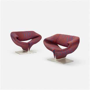 Pierre Paulin, Ribbon chairs, pair