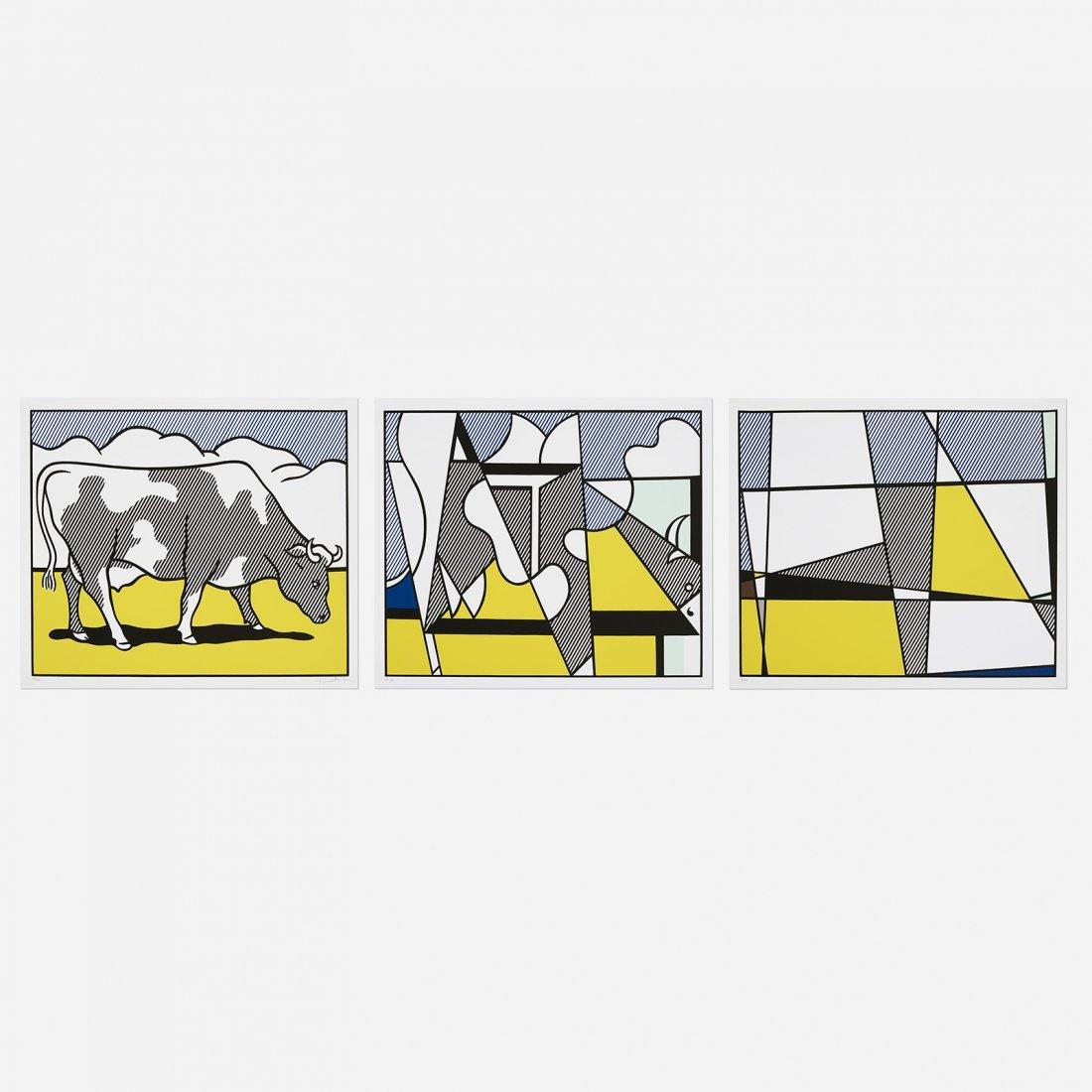 Roy Lichtenstein, Cow Triptych (Cow Going Abstract)
