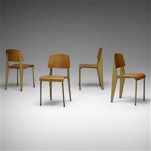 Jean Prouve, 'Semi-Metal' chairs no. 305, set of four