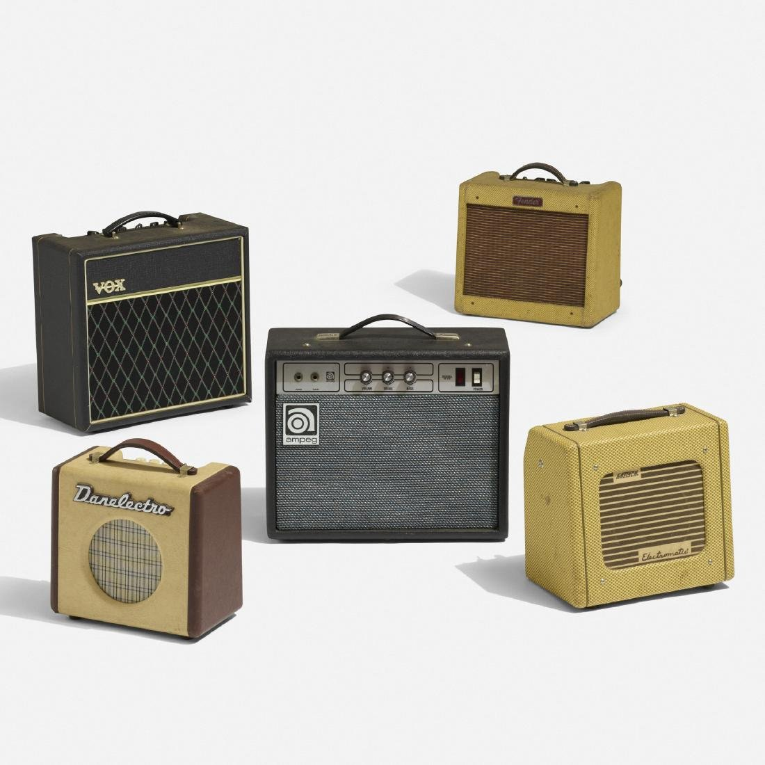 collection of five amplifiers