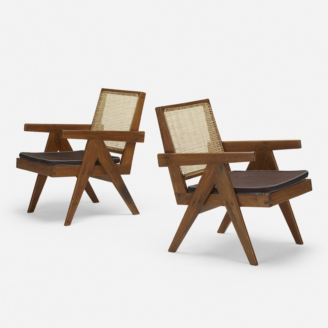 Pierre Jeanneret, lounge chairs, Chandigarh, pair