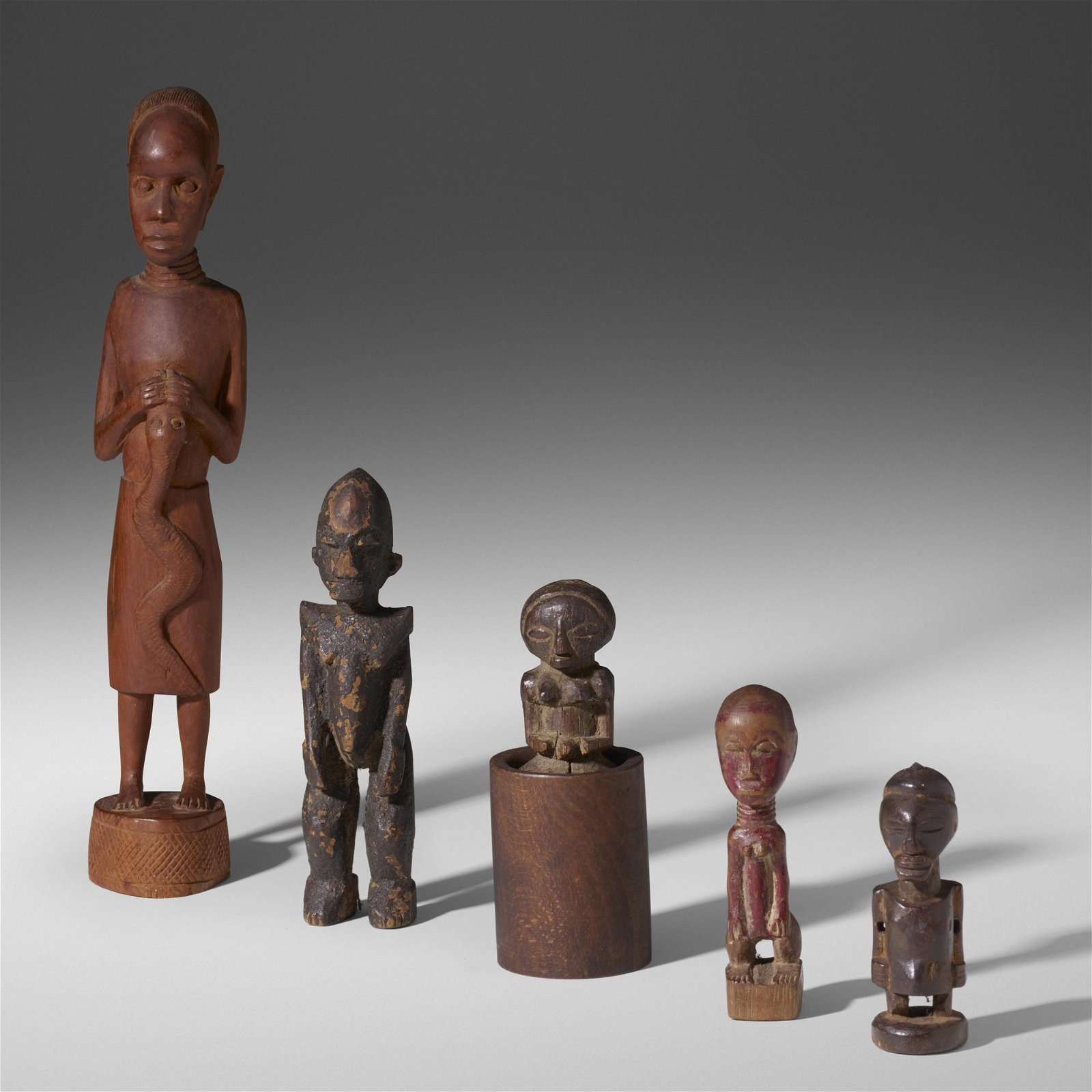 African, collection of five figures