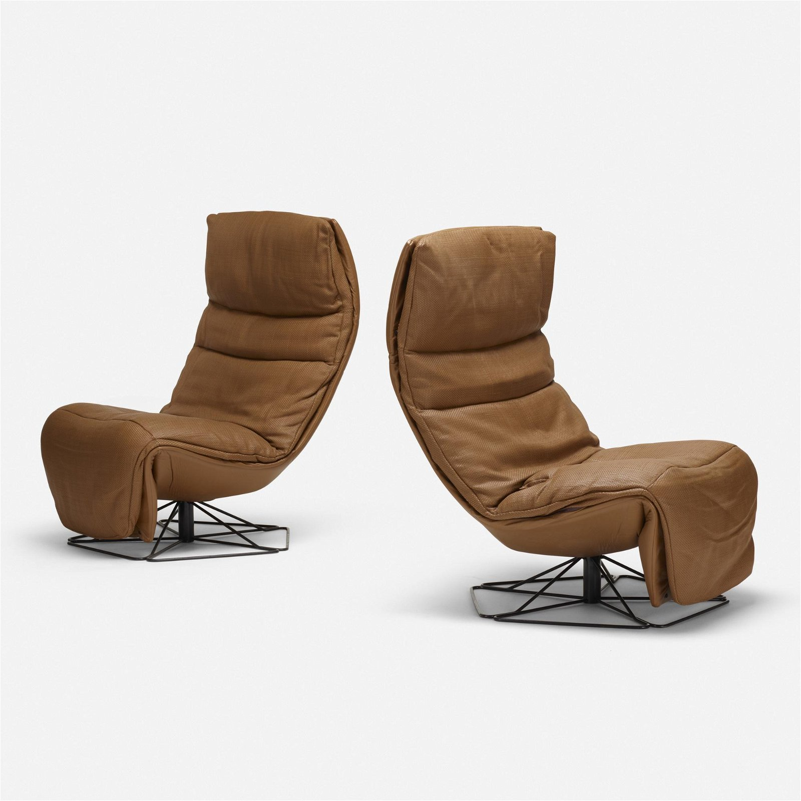 American, reclining swivel chairs, pair