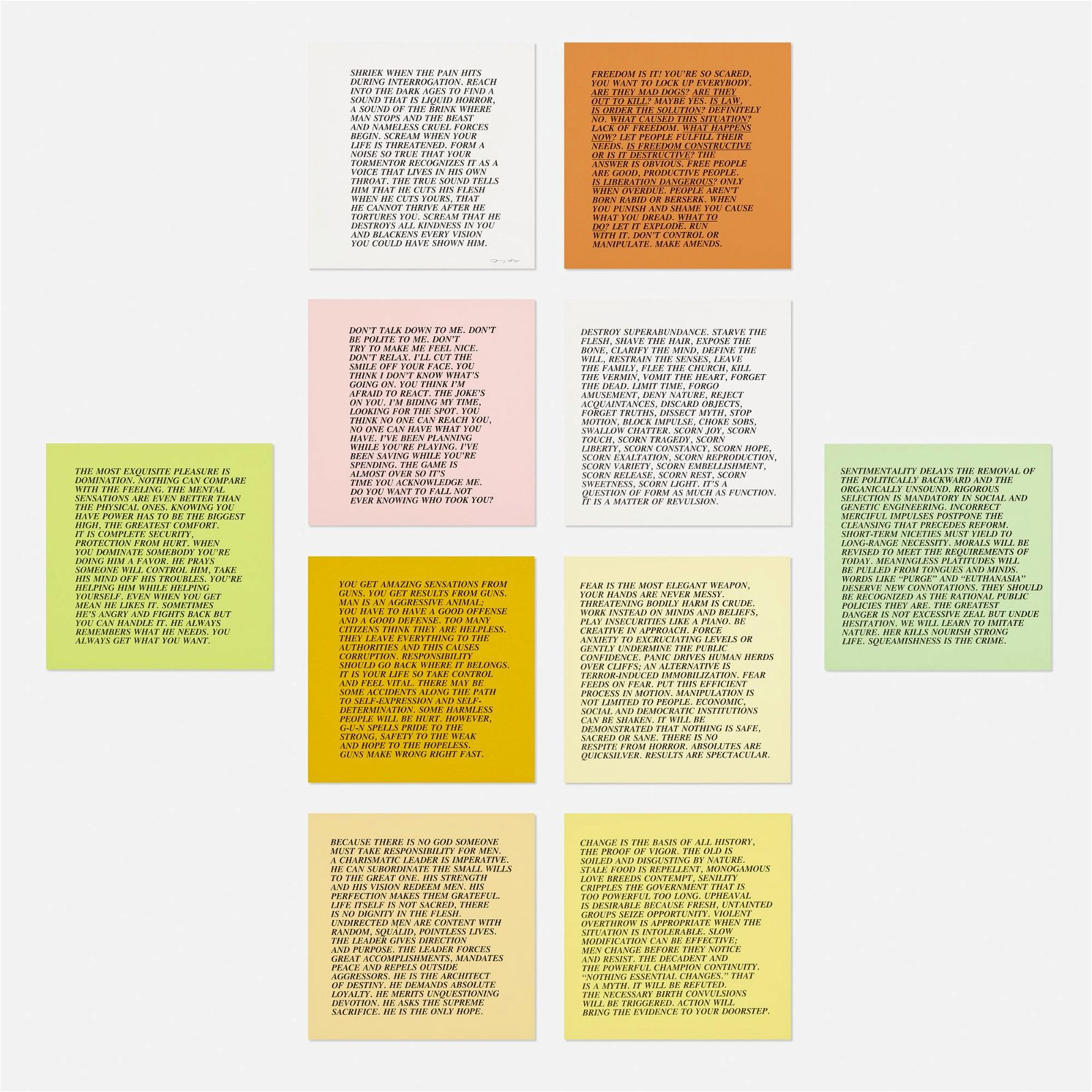 Jenny Holzer, Inflammatory Essays (set of ten)