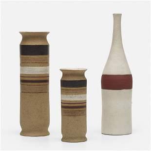 Bruno Gambone, collection of three vases