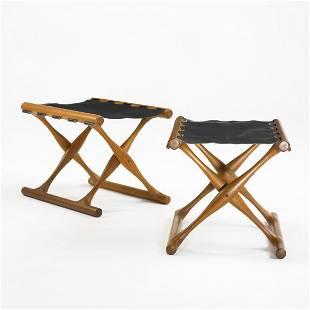 412: Poul Hundevad Guldhoj folding stools, pair