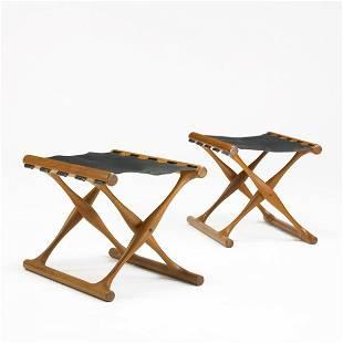 413: Poul Hundevad Guldhoj folding stools, pair