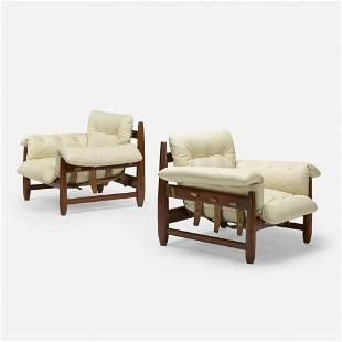 In the manner of Sergio Rodrigues, Lounge chairs, pair