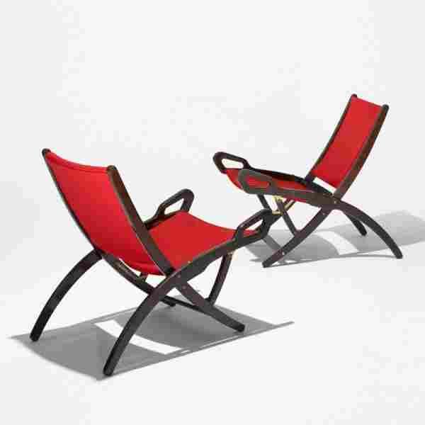 Gio Ponti Pieghevole lounge chairs, pair