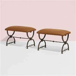 Hollywood Regency, Benches, pair