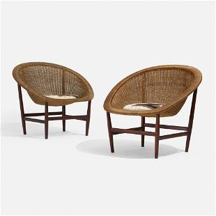 Nanna and Jorgen Ditzel, Lounge chairs, pair